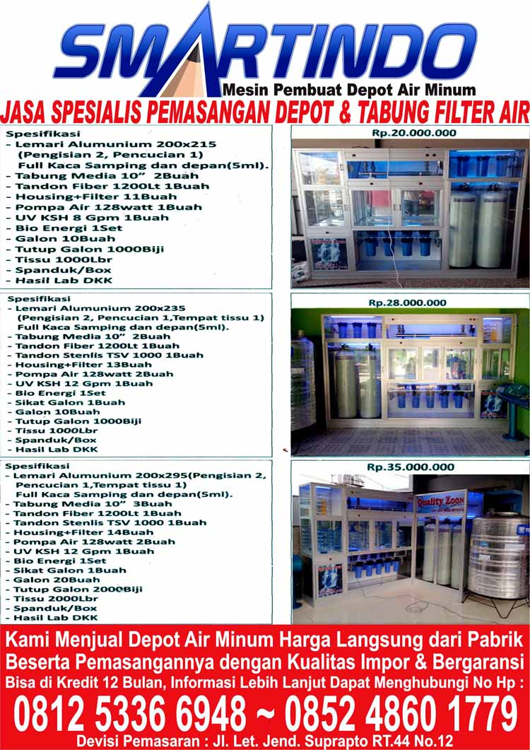Distributor Jual Depot Filter Air Minum Isi Ulang